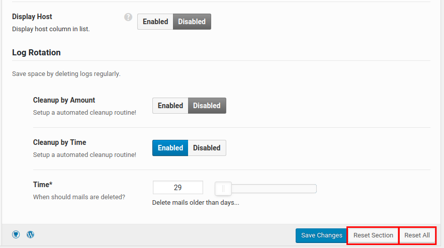 wordpress wp mail logging reset wp mail settings