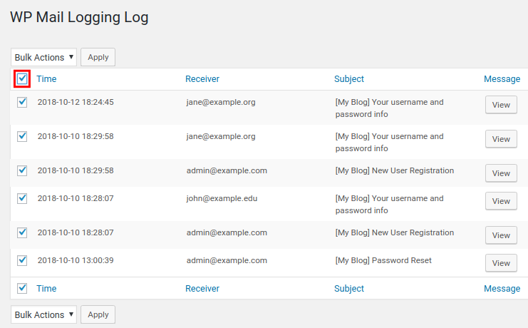 wordpress wp mail logging select all emails