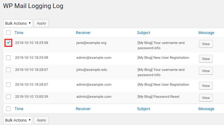 wordpress wp mail logging select email
