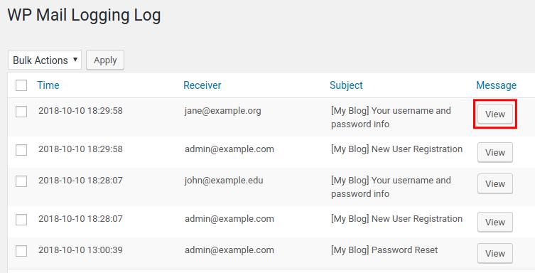 wordpress wp mail logging view wordpress mail logs