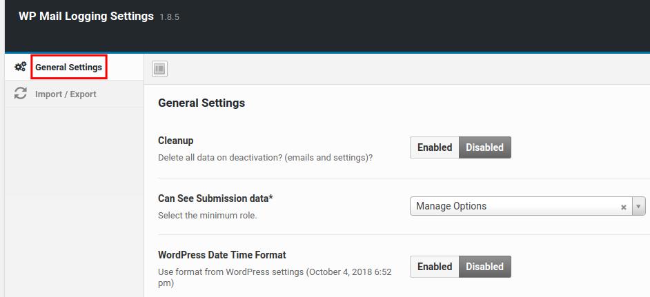 wordpress wp mail logging wp mail log general settings