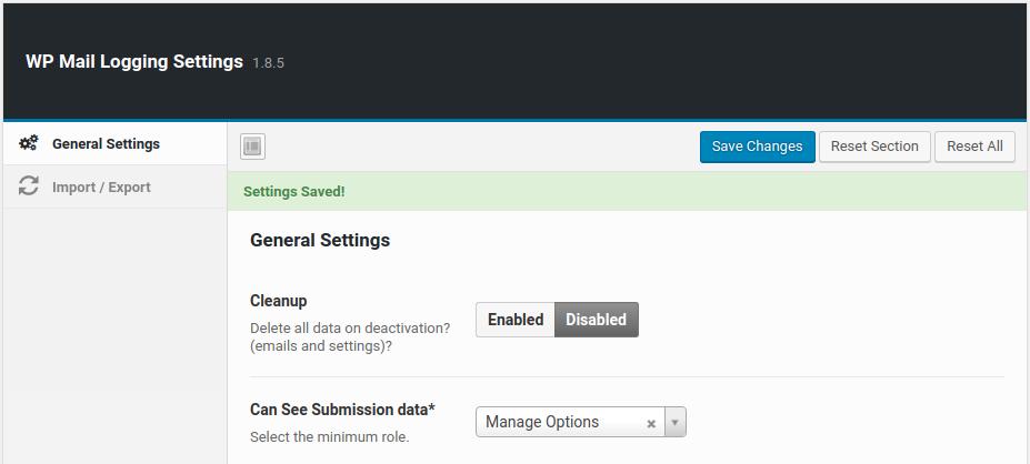 wordpress wp mail logging wp mail log settings saved