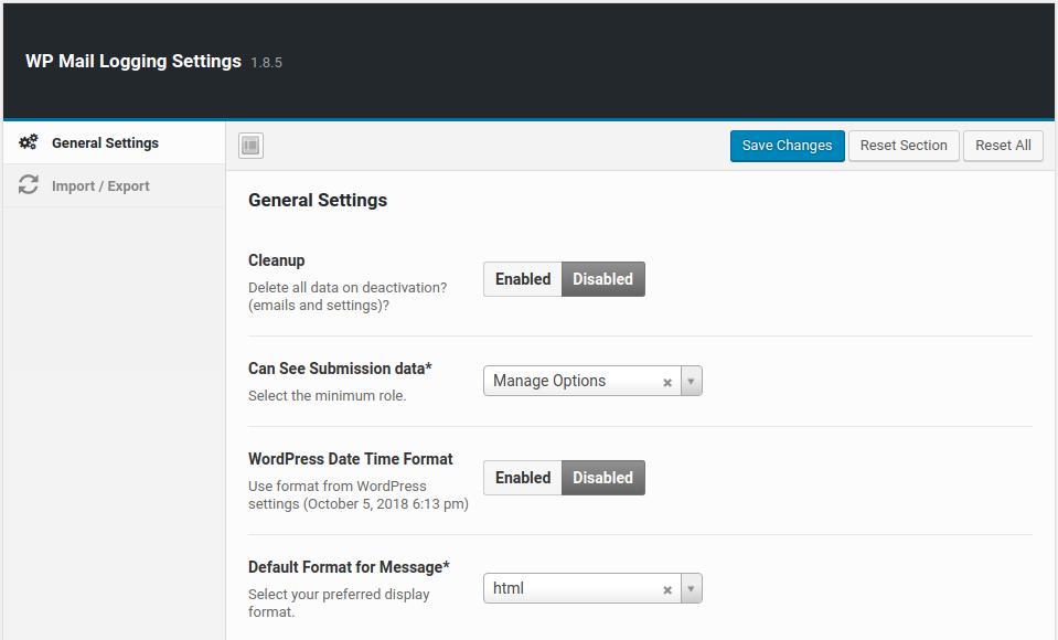 wordpress wp mail logging wp mail logging settings