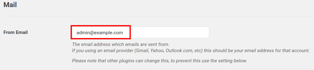 WP Mail SMTP From email field