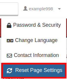 cpanel reset page settings reset page settings