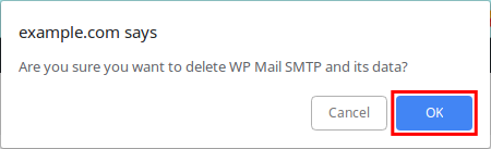 confirm deletion of wp mail smtp plugin
