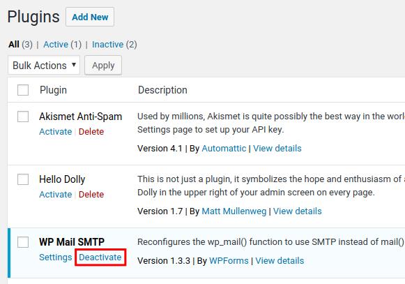 deactivate wp mail smtp settings