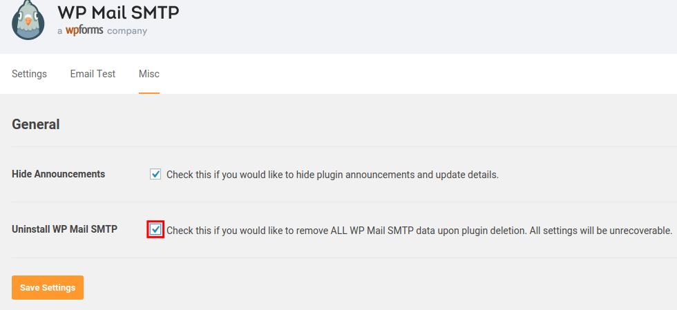 uninstall wp mail smtp