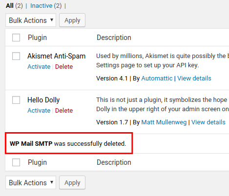 smtp wp mail deleted successfully