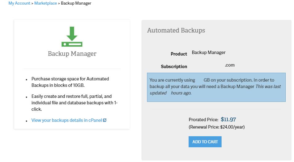 Backup Manager Options