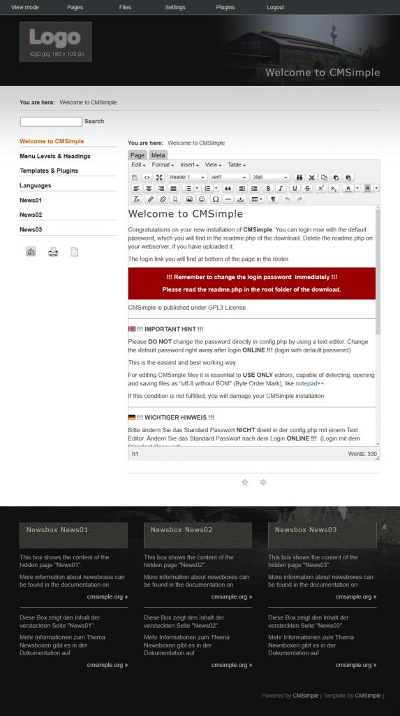 CMSimple Default Edit Page