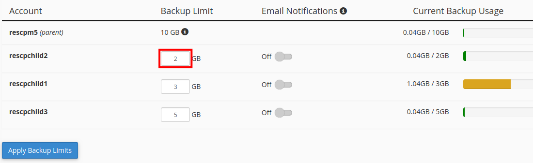 increase backup limit