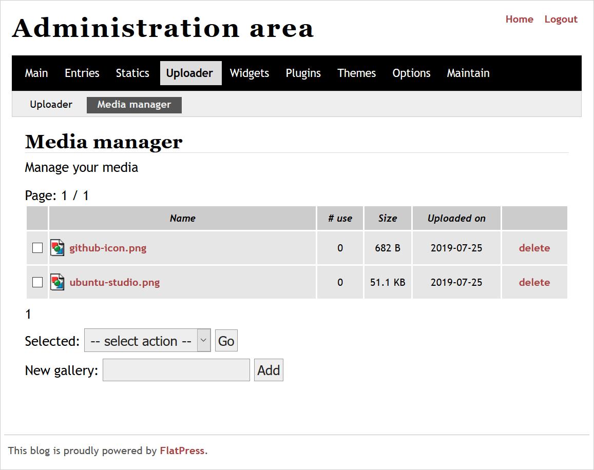 FlatPress Media Manager