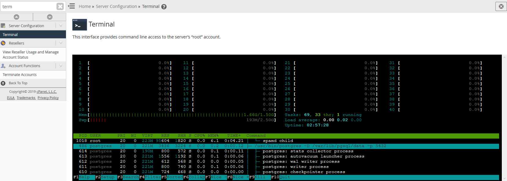 Use htop after you remove a Linux user's processes