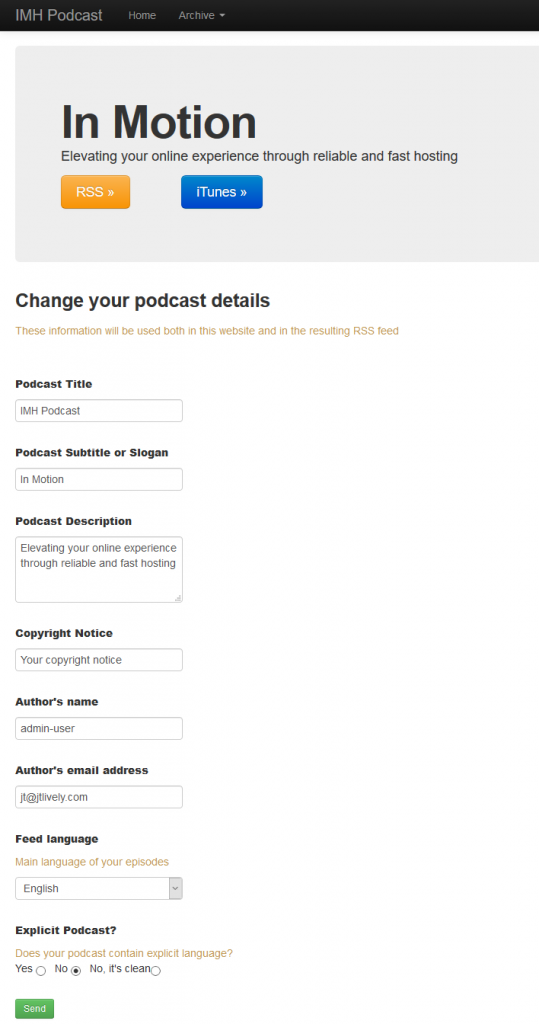 Install Podcast Generator with Softaculous