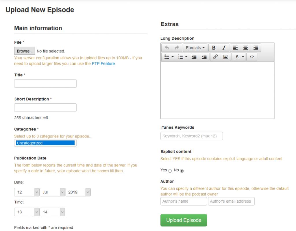 podcast generator upload media