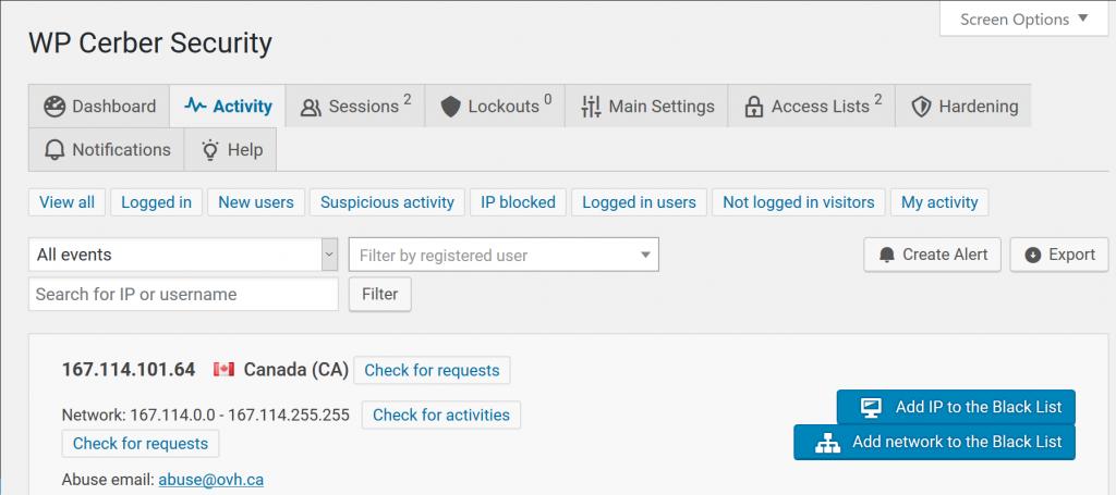 Blacklist IPs in Cerber