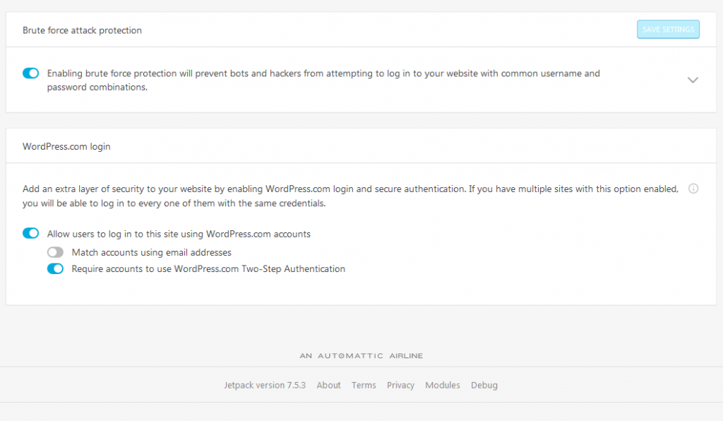 JetPack plugin two-factor authentication settings