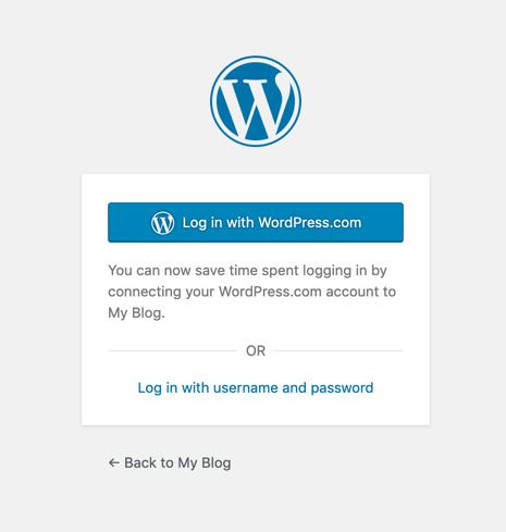 WordPress login screencreen