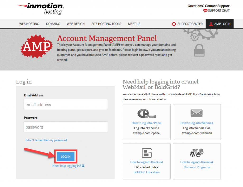 How to Log into AMP | InMotion Hosting Support Center