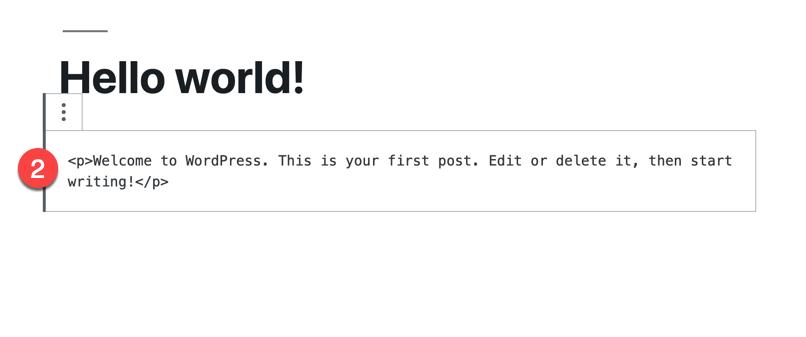 code editor block converted edit html