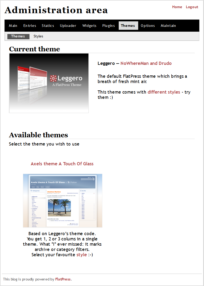 Changing the theme from Leggero to ATOG