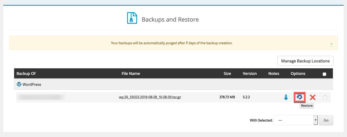 Backup Restoration