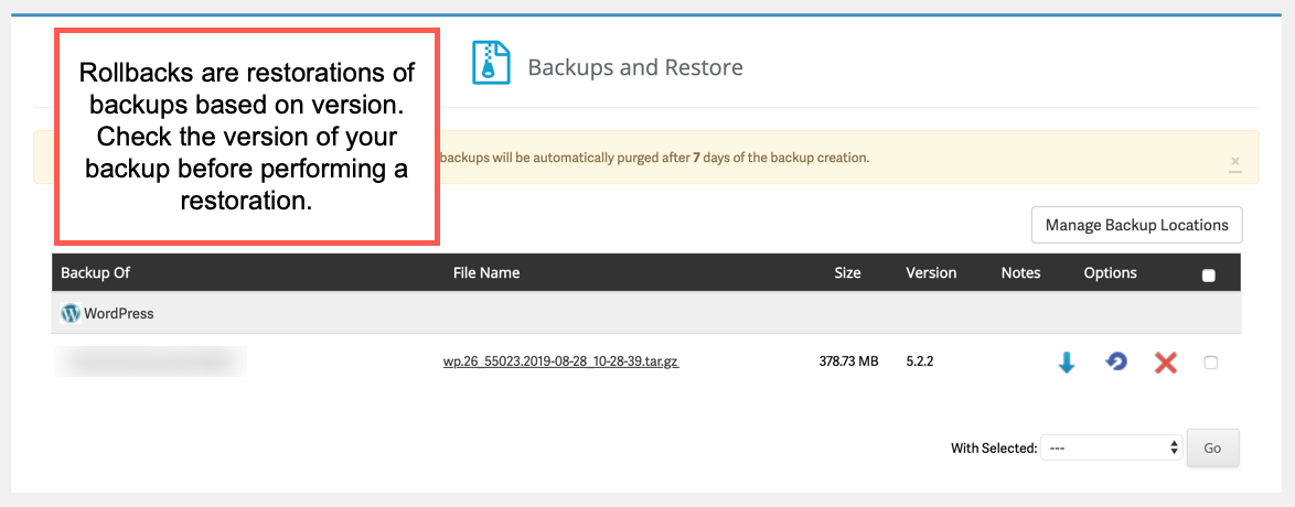Select backup to restore