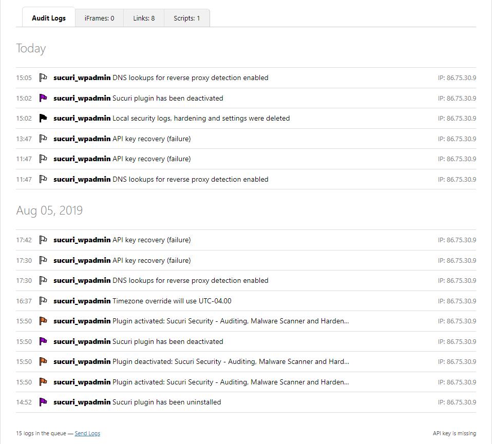 sucuri wp plugin audit log entries