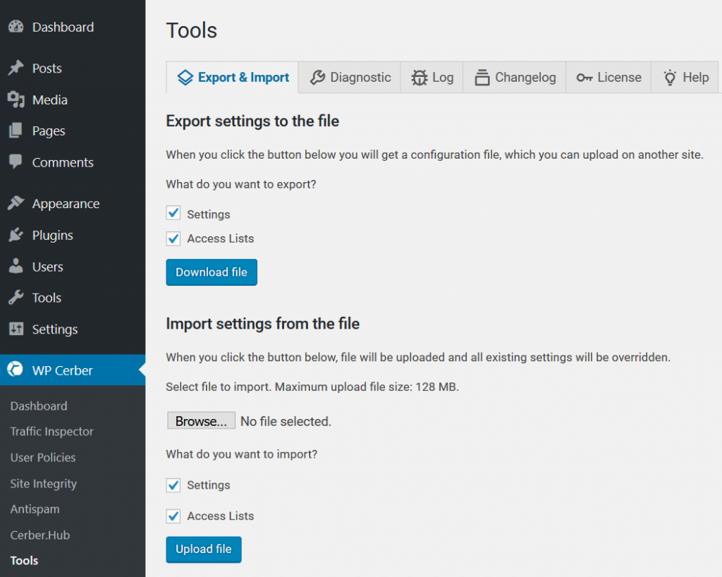 Export and import settings