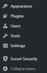 wp dashboard menu sucuri security