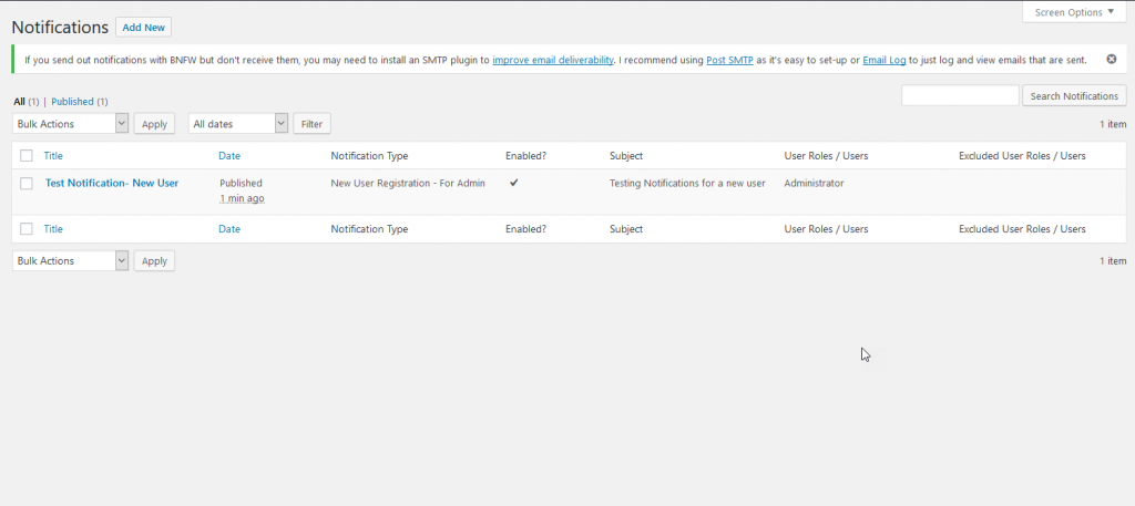 Better Notifications plugin creating settings