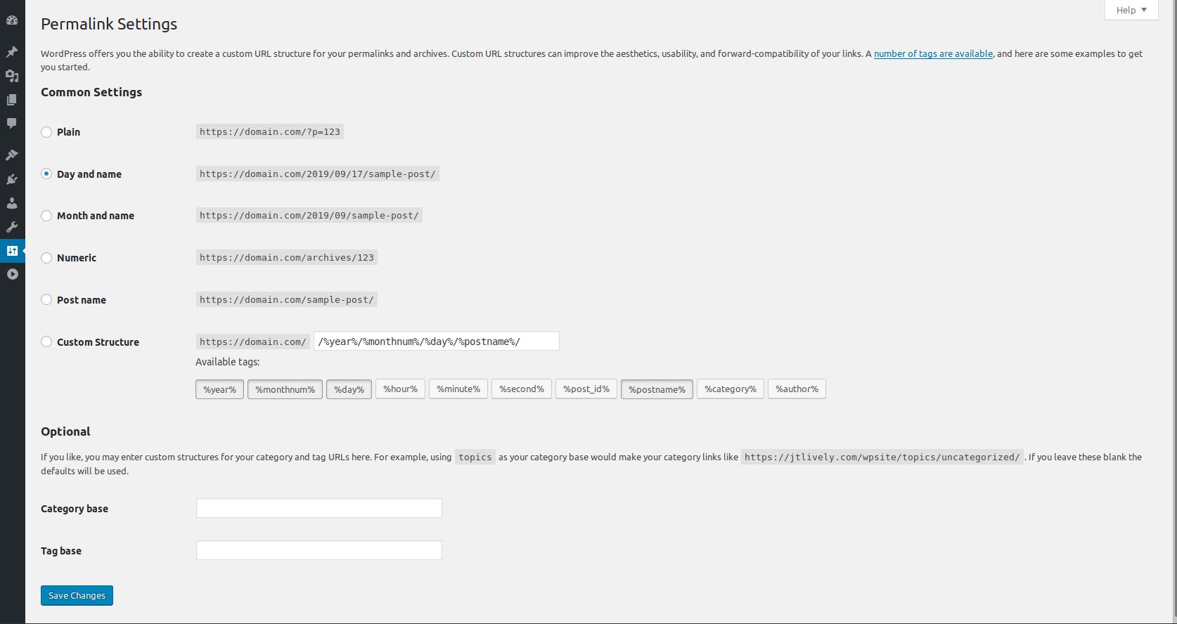 WordPress Permalinks section