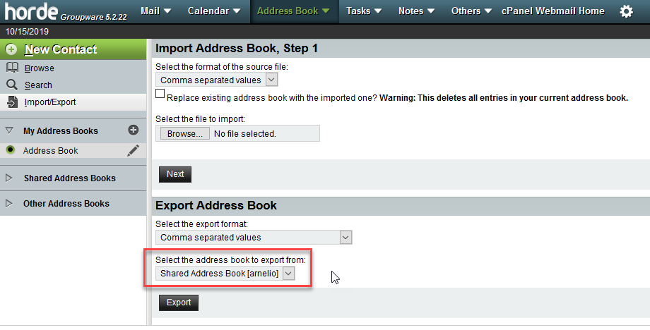 Select the address to export