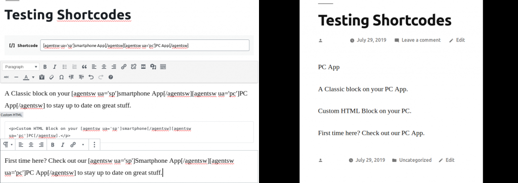 user agent content switcher editor example