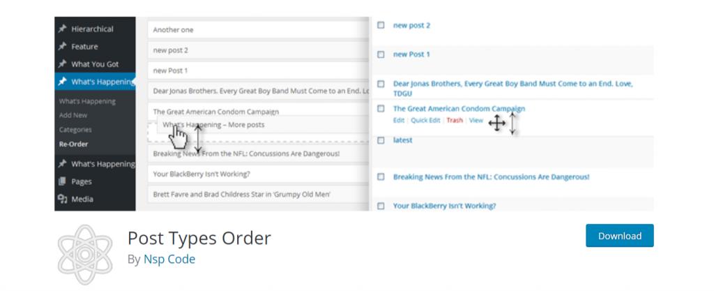 Screen shot of the Post Types Order plugin in WordPress