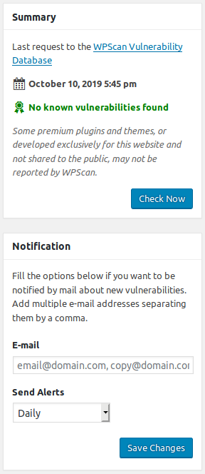 wpscan notifications