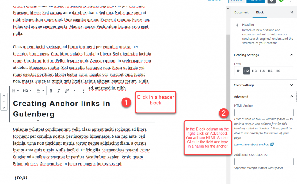 creating anchor links 1 1