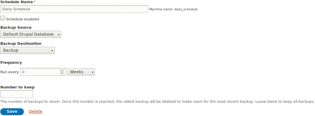 Scheduling options in Drupal Backup and Migrate Module