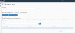 Screenshot of cPanel Forwarder Management Screen