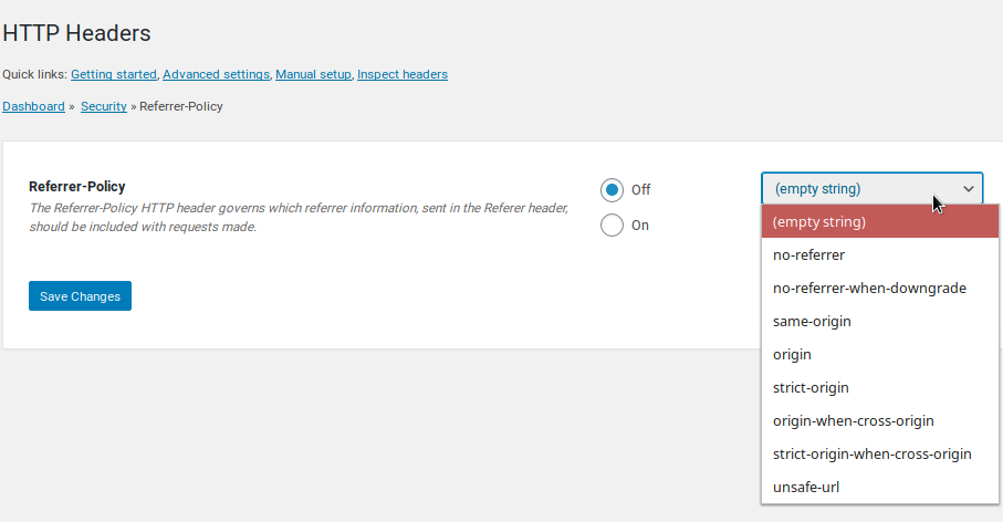 Referrer-Policy Settings Screen