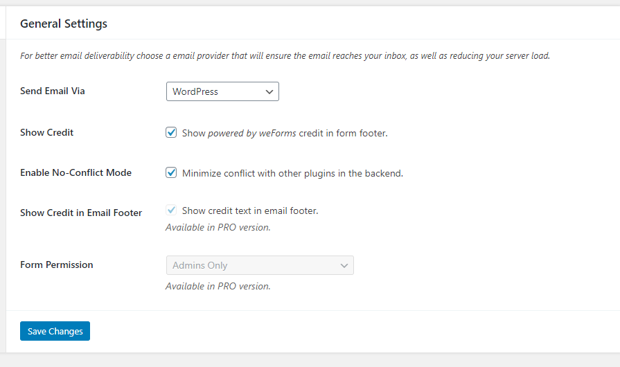 screenshot of weForms general settings
