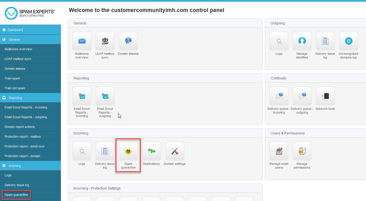 Click the Spam Quarantine icon.