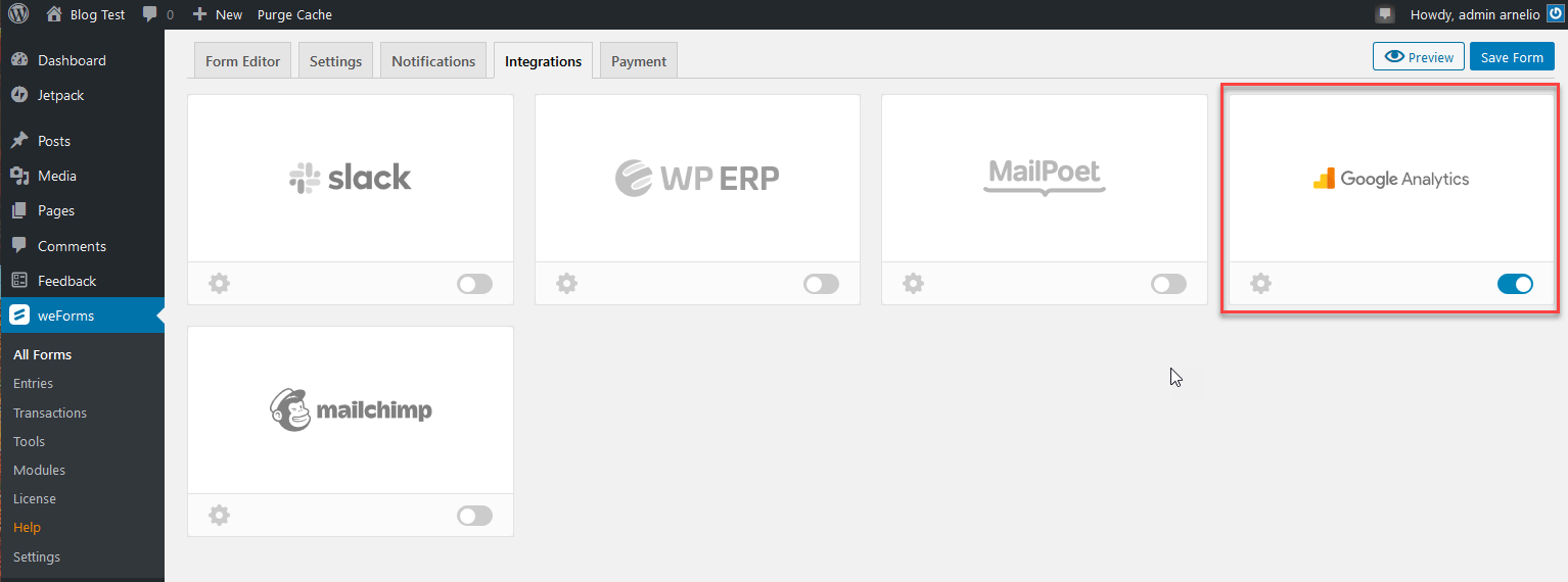 weforms forms integrations