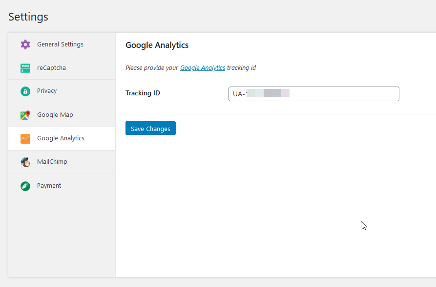 weforms ga settings tracking id