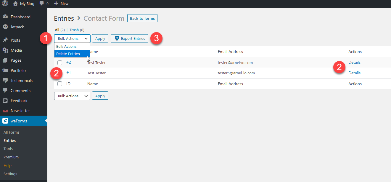 Managing entries in weforms