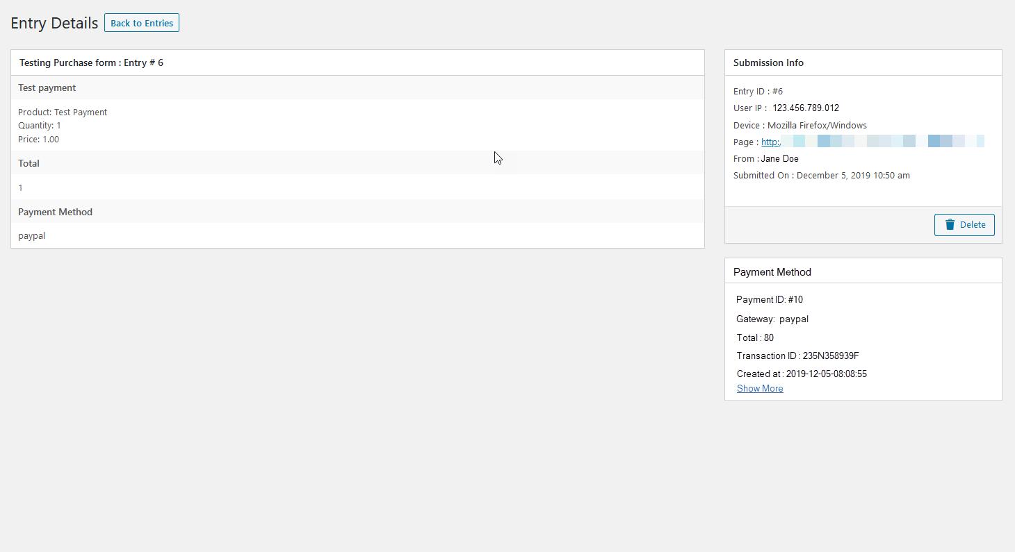 weforms transaction details