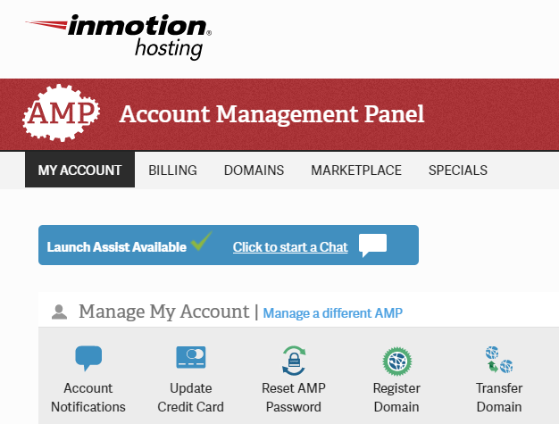 InMotion Hosting Account Management Panel Launch Assist