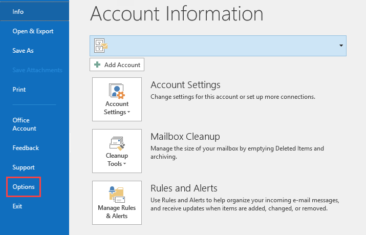 Login to Outlook, then click on File to go to the Account Information page. Click on Options.