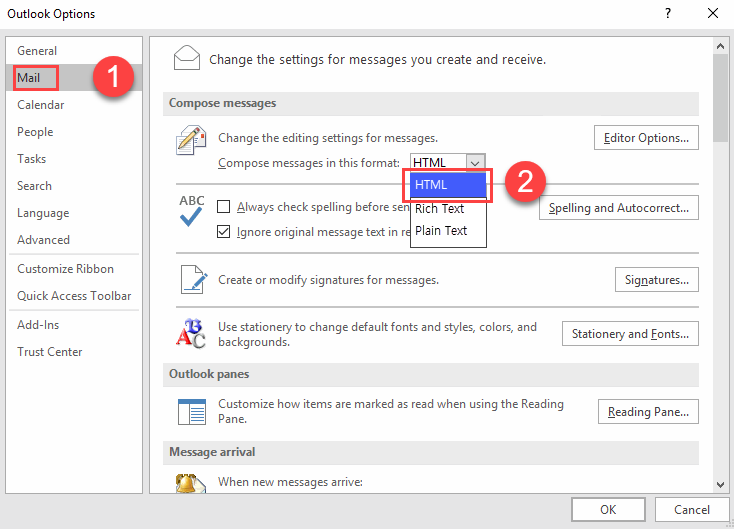 In the drop-down menu next to Compose messages in this format, click on HTML or Plain Text.